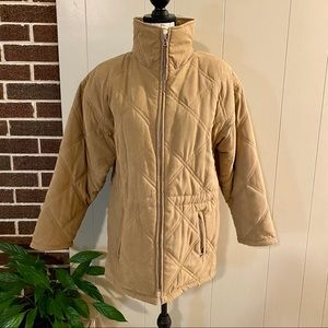 Talbots Beige Quilted Zip-up Jacket Coat Size XS